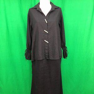 Simple People Medium Black Linen Blend Jacket & Sk